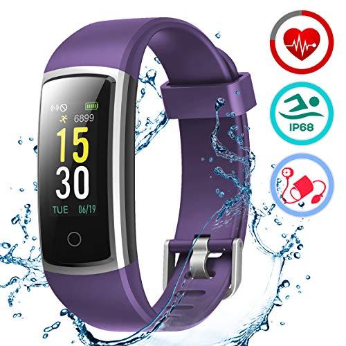 LATEC Pulsera Actividad Inteligente Pulsómetro y Presión Arterial Relojes Deportivos Impermeable IP68 Podómetro Pulsera Deportiva Reloj para Xiaomi Samsung Huawei Android iPhone iOS Teléfono