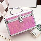 Frcolor Aluminium Make-up Kosmetik Vanity Case Kosmetikbox Organizer Container (Rosy)