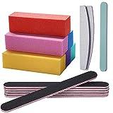 Montloxs Limas y pulidoras de uñas Kit de herramientas de manicura Rectangular Nail Art Care Herramientas de bloque de pulido Limas de uñas de doble cara y pulidora de uñas de 4 caras