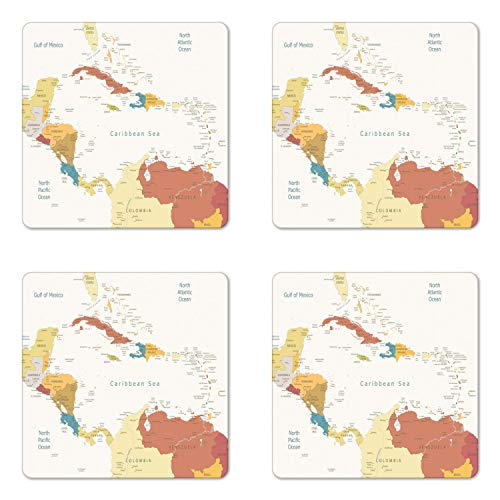 Ambesonne Vintage Cartography Coaster Set of 4, Retro Map Americas Carribean Sea, Square Hardboard Gloss Coasters, Standard Size, Eggshell Multicolor