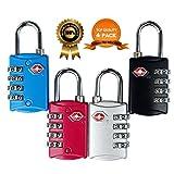 HT Certificado por TSA Equipaje Locks & # x2605; Y # x2605; Y # x2605; Garantía de por vida en nuestro duradero de protección de robo de combinación de 4dígitos candado para equipaje Lock, candado de viaje y maleta
