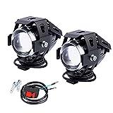 2 PCS Fari Moto Faretto Anteriore U5 LED con Interruttore On Off Fanale Lampada Universale 3000 LM 125 W per Moto Auto Bici Camion Barca