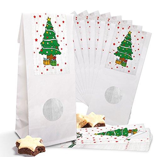 10 petits sacs motifs Noël papier blanc pour pâtisseries avec fenêtre et fond de parchemin (7 x 4 x 21,5 cm) + 10 Vert sapin de Noël Sapin de Noël Rouge sur le Colle blanche (5 x 15 cm)