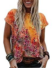 Camisetas Estampadas con Cuello En V De Verano Mangas Cortas Ropa Informal para Mujer Tops Sueltos Suaves S-3xl
