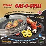 GAS-O-GRILL Regd.TM with Glass LID Jumbo Full Aluminium CAST Stove TOP Grill by STEEMO BBQ Barbeque 14 INCHES Black
