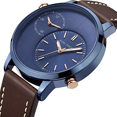 Mini Focus Reloj Hombre, Reloj de Cuarzo de 2 Zonas horarias Reloj de Pulsera con Correa de Cuero Impermeable para Hombre con Caja para Regalo de Marido (Blue Brown)