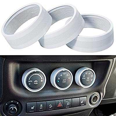 E-cowlboy Interior Audio Air Conditioning Button Cover Decoration Twist Switch Ring Trim for Jeep Wrangler JK JKU Compass Patriot 2011 2012 2013 2014 2015 2016 3PC/Set (White)