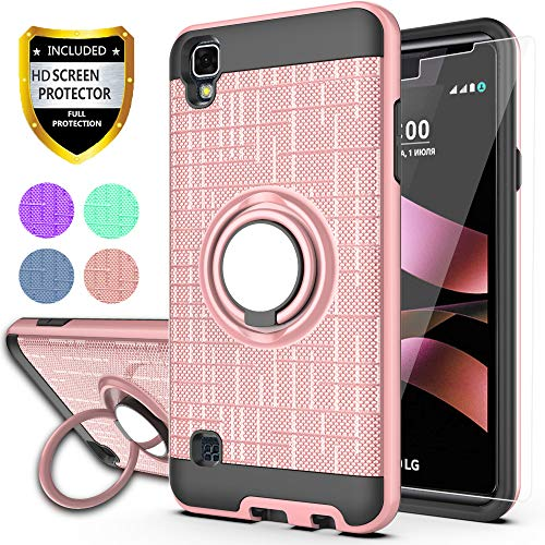 LG Tribute HD Case,LG X Style Case,LG Volt 3 Phone Cases with HD Phone Screen Protector,YmhxcY 360 Degree Rotating Ring & Bracket Dual Layer Resistant Back Cover for LG LS676-ZH Rose Gold
