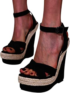 Padaleks Women's Open Toe Buckle Strap Slingback Espadrilles Wedge Sandals Comfy Platform Casual Party Dress Shoes