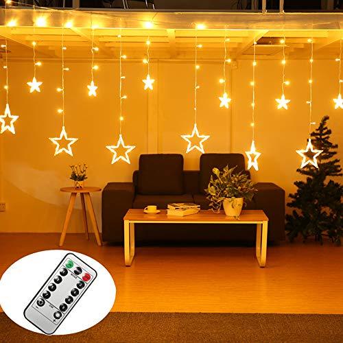 Rideau Lumineux Etoile,chaîne lumineuse à led SOLMORE 4m 138 led avec télécommande et minuterie, convient pour la décoration de Noël, fête, chambre, 8 modes pour décoration