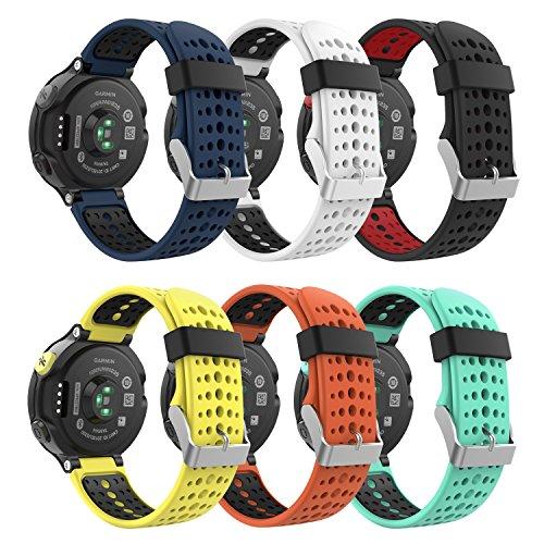 MoKo (6PCS Correa para Garmin Forerunner 235, 6 Piezas de Banda de Reemplazo de Suave Silicona para Garmin Forerunner 235/220 / 230/620 / 630/735 Smart Watch, Multicolor A