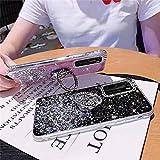 Uposao Compatible con Huawei P40 Funda Purpurina Glitter Estrellas Diseño con Anillo Soporte Móvil Brillante Bling Silicona TPU Funda Carcasa a Anti choque Antiarañazo Suave Funda,Claro