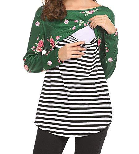 BEAdressy Women Double Layer Striped Print Long Sleeve Maternity Breastfeeding...