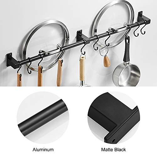 BESy 31.5 Inch Black Hanging Pot Rack Wall Mounted Lid Holder Detachable Rail Kitchen Utensils Pan Hanger with 10 Detachable S Hooks, Wall Mount With Screws