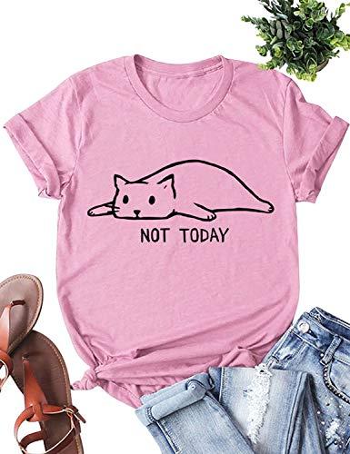 YUHX Not Today Camisetas Mujer Carta Gato gráfico Estampado de Manga Corta con Cuello Redondo Tops Animal...