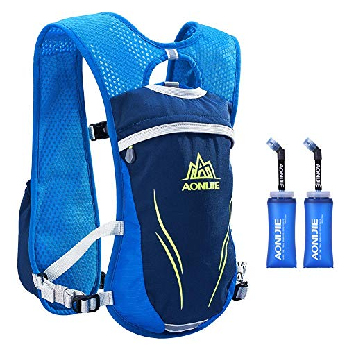 AONIJIE Hydration Vests Running Hydration Pack Backpack for Women and Men Lightweight Camel Backpack with Water Bottles for Trail Running Cycling Marathon Race 5.5L(blue-350ml)