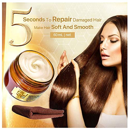 Masque capillaire magique Hair masque 60ml avec Serviette Conditionneur Profond argan oil Nourrissant Doux Lisse Réparation Dommages douce Masque cheveux secs et abimés (60ml+Serviette)