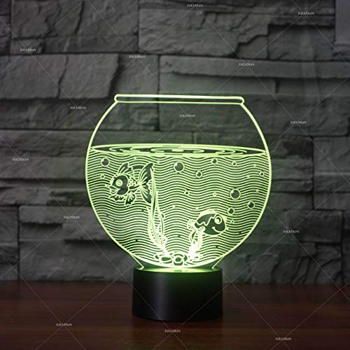 Illusie Lamp, Optische Illusie 3D Lamp 7 Kleur, 7 Kleur Variaties, Goudvissen Aquarium Tafellamp