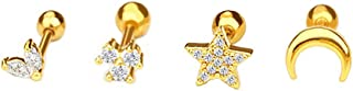 NewZenro Star Moon 16g Ear Cartilage Helix Surgical Stainless Steel Cubic Zirconia Studs Cartilage Earrings Huggie Screw B...