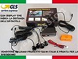 Kit de 4 sensores de aparcamiento para coche, furgonetas, caravanas, color negro, se pueden pintar, manual en italiano con pantalla LED acústica