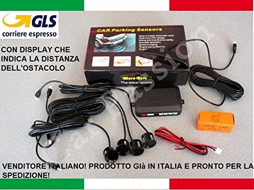 KIT 4 SENSORI DI PARCHEGGIO AUTO FURGONI CAMPER NERI VERNICIABILI MANUALE IN ITALIANO CON DISPLAY LED ACUSTICO