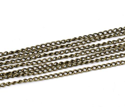 QPSupplies - Catena a maglie, lunghezza 5 m, colore: bronzo anticato, 4 x 3 mm, ideale per creare gioielli, decorazioni e lavori artigianali