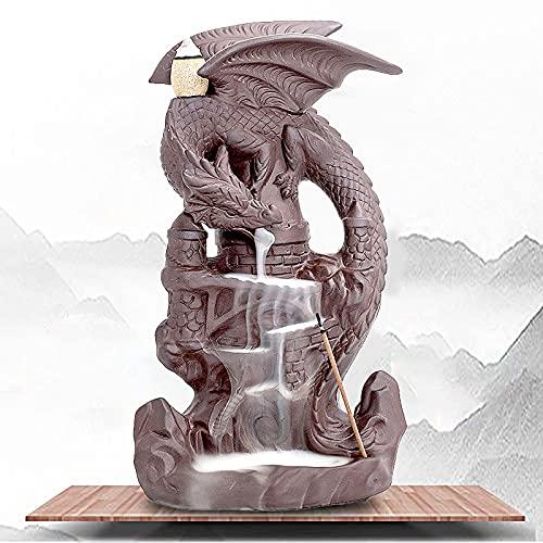 FSJD Soporte de Quemador de reflujo de Incienso de dragón Soporte de Cono de Incienso de cerámica para Adorno de aromaterapia decoración del hogar de Fiesta