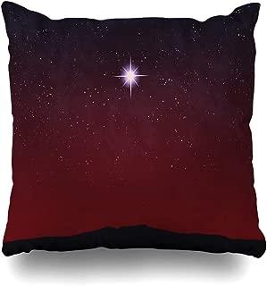 Ahawoso Throw Pillow Cover One Blue Bethlehem Bright Star Over Horizon Sunset Mas Sunrise Red Desert Lone Celestial Christmas Home Decor Zippered Pillowcase Square Size 20 x 20 Inches Cushion Case