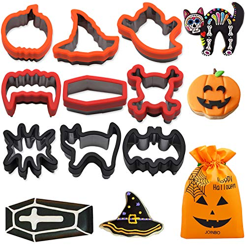 JoinBo 9 Pieces Stainless Steel Halloween Cookie Cutters for Halloween Cookies, with Vampire teeth, Skeleton, Coffin, Cat, Spider, Bat, Pumpkin, Witch's Hat and Ghost Cookie Cutter