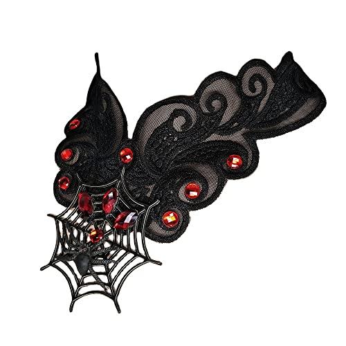 ZSY Collar gótico punk de Halloween, collar de encaje negro con cristal, para mujeres y niñas, disfraz de Halloween