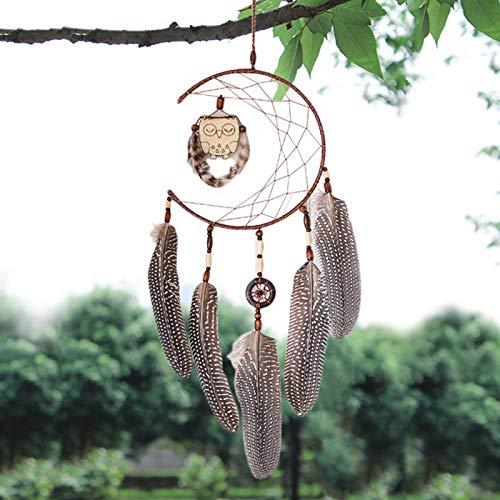 夏の詩, 北欧スタイルフクロウドリームキャッチャーファッションホームデコレーション誕生日プレゼント風チャイムドリームキャッチャー自然の羽壁掛け