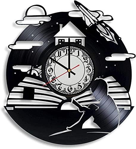 GONGFF Reloj de Pared de Vinilo Reloj de Disco de Vinilo de 12 Pulgadas-Reloj de decoración Retro literario y Creativo