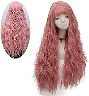 Pink Wig for Women Long Fluffy Curly Wavy Hair Wigs for Girl Heat Friendly Synthetic Cosplay Party Wigs
