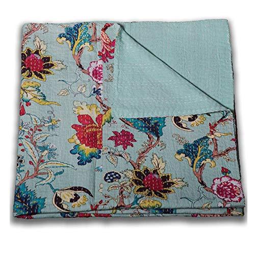 Trade Star Colcha cosida a mano, 150 x 225 cm, algodón étnico estampado floral Kantha, reversible, para cama y sofá (8)