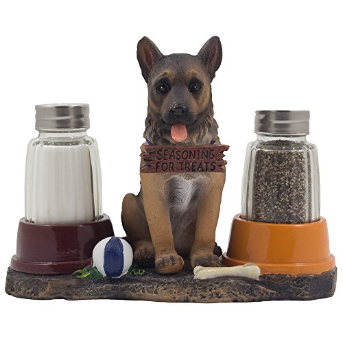 Adorable German Shepherd Puppy Dog Salt and Pepper Shaker Set with Food Bowls on Decorative Display Stand Holder Figurine for Police Dog Themed Kitchen Decor Spice Racks or Table Centerpieces As Gifts for Pet Lovers