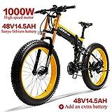 LANKELEISI 750PLUS 48V14.5AH 1000W Motor Bicicleta eléctrica con Todas Las Funciones 26''4.0 Bicicleta de montaña de Nieve de 27 velocidades Plegable Bicicleta Adulta(Amarillo +1 batería Extra