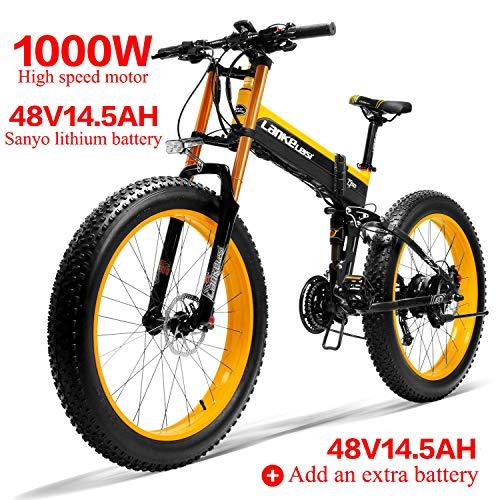 LANKELEISI 750PLUS 48V14.5AH 1000W Motore Bicicletta elettrica Full-Optional 26''4.0 Pneumatico Ebike Bici 27 velocità Adulto Femmina/Maschio (Nero Giallo + 1 Batteria supplementare)