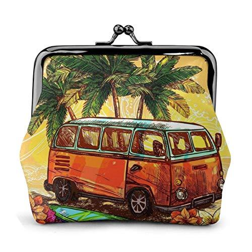 Hippie Classic Old Bus con Tabla de Surf PU Cuero Exquisito Hebilla Monederos Bolsa Vintage Classic Kiss-Lock Monedero Monedero Monederos Regalo