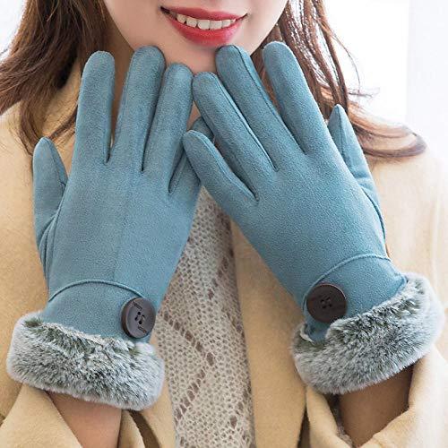 NPYANYAN warmteverdikking in de herfst en winter en touchscreen-handschoenen, velours, antislip, voor fietsen aan het stuur, schattige dameshandschoenen, 14 stuks
