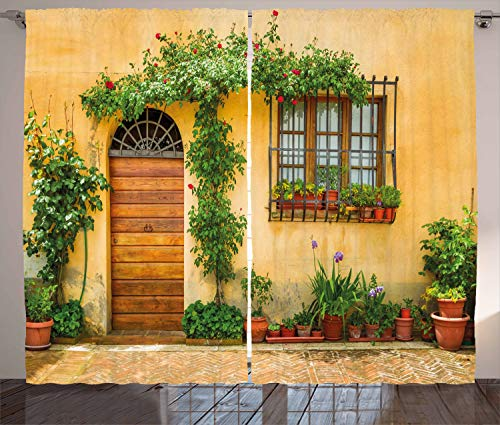 """Ambesonne Italy Curtains, Porch with Different Flowers Pots Fresh Green Plants City Life in Tuscany, Living Room Bedroom Window Drapes 2 Panel Set, 108"""" X 84"""", Green Brown"""