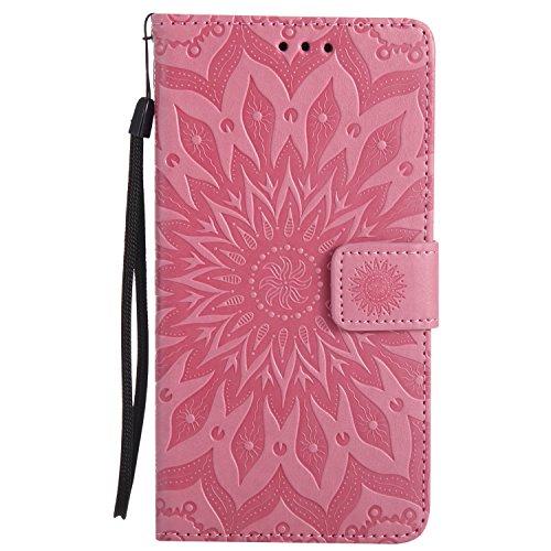 Lomogo LG G4 Hülle Leder Blumenprägung, Schutzhülle Brieftasche mit Kartenfach Klappbar Magnetverschluss Stoßfest Kratzfest Handyhülle Case für LG G4 (H815) - KATU22685 Rosa