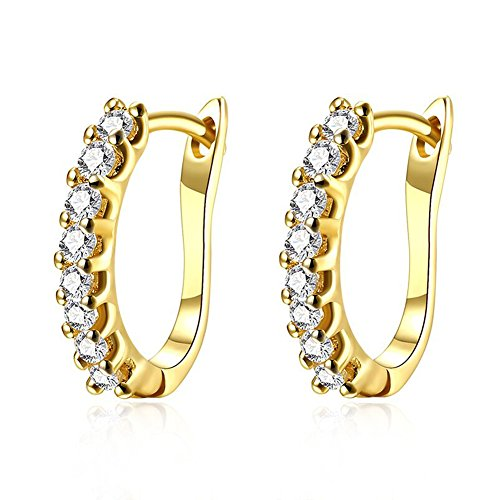 14k White Gold Plated Small Hoop Earrings for Women Huggie Earrings CZ Piercings with Clear Cubic Zirconia, Best Mother's Day Gift Idea