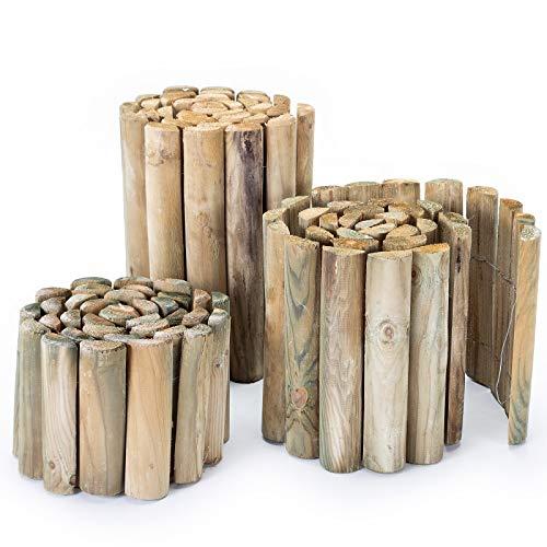 BooGardi Rollborder aus Holz · Höhe: 30cm, Länge: 200cm · Rasenkante/Beeteinfassung oder Beetzaun
