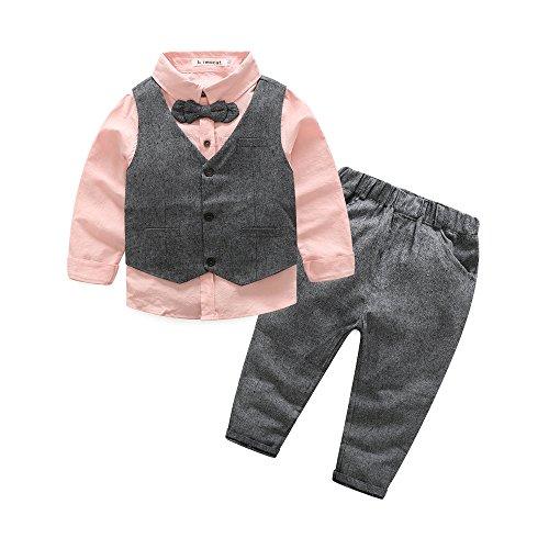 Boys 3Pcs Clothing Sets Cotton Long Sleeve Bowtie Shirts +Vest +Pants Casual Suit (4T) Pink