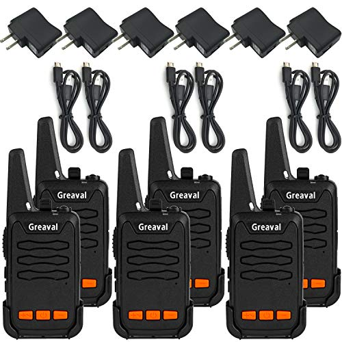Greaval USB Rechargable Walkie Talkies 6 Pack Long Range Mini 2...