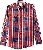 Amazon Essentials - Camisa de sarga ajustada con dos bolsillos y manga larga para hombre, Rojo (Red Plaid Rpl), US M (EU M)