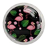 Tirador para Muebles para Niño Flamenco rosa Pomo de cajón para Habitación Infantil Dormitorio Tirador de cajón impresión pomo de puerta 4 Piezas 3.5×2.8CM