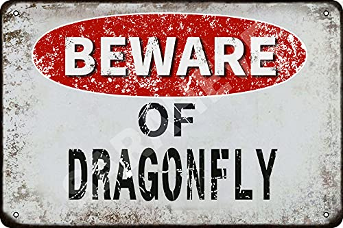 """Beware of Dragonfly Vintage Metal Tin Sign Retro Funny Tin Sign for Wall Decor—8"""" x 12""""—Dragonfly"""