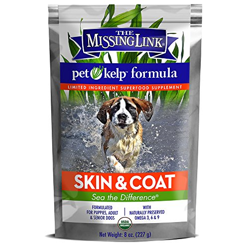 The Missing Link - Organic Pet Kelp, Skin & Coat Formula — Limited ingredient Superfood Supplement for Dogs rich in balanced Omegas 3, 6, and 9to support healthy nutrition and skin & coat health — 8 ounces