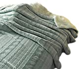 Embossed Flannel Bed Blanket - Double-Layer Fleece & Sherpa for Twin Full Queen King, Microfiber (60'x79', cadetblue)